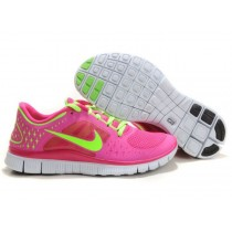 Nike Free Run 3 Running Damen Dunkelrosa/Lawngreen/Weiß